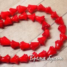 Бусина-цветок из натурального коралла, красный (1 шт.)