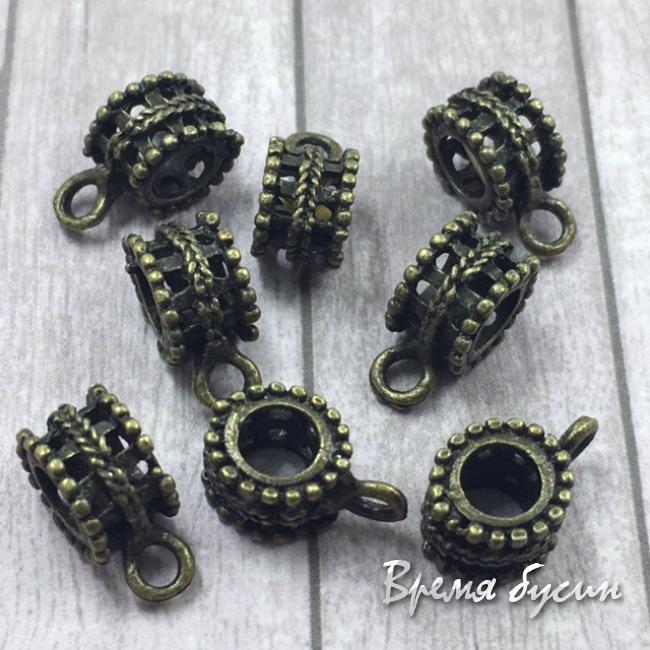 Бейл металлический, подходит для браслетов пандора, цв. БРОНЗА (1 шт.)