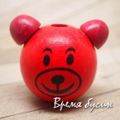 """Бусины деревянные крупные """"Мишка"""", красный (1 шт.)"""