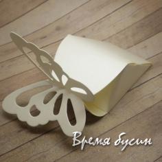 Коробка подарочная складная, с бабочкой, МОЛОЧНЫЙ (1 шт.)