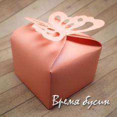 Коробка подарочная складная, с бабочкой, РОЗОВЫЙ (1 шт.)