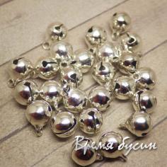 Бубенчики металлические, 8 мм, цвет серебро (1 шт.)