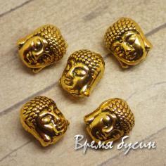 Будда. Бусина металлическая под золото, 9х10 мм (1 шт.)