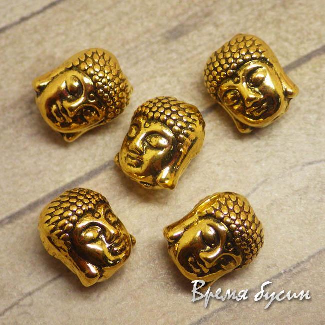 Будда. Бусина металлическая под золото, 9х10 мм