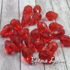 Бусина капля граненое стекло 10х15 мм. Красный