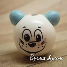 """Бусины деревянные крупные """"Мышка"""", белый с голубым (1 шт.)"""