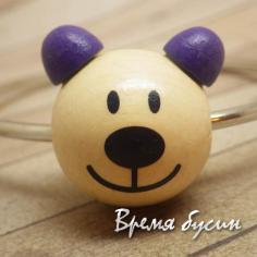 """Бусины деревянные крупные """"Мишка"""", натуральный с фиолетовым (1 шт.)"""