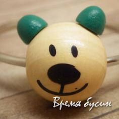 """Бусины деревянные крупные """"Мишка"""", натуральный с зеленым (1 шт.)"""
