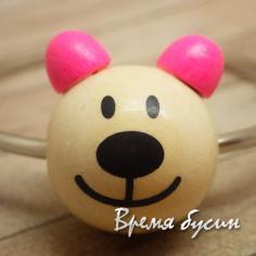 """Бусины деревянные крупные """"Мишка"""", натуральный с розовым (1 шт.)"""