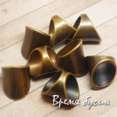 Бусина для шарфа, металлизированный пластик, цвет бронза (1 шт.)