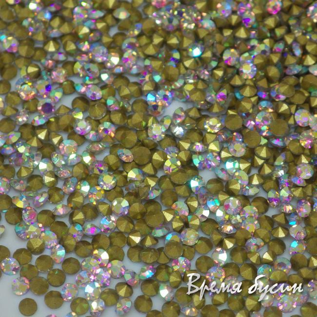 Стразы конусные для бижутерии, цвет Crystal AB (10 шт.)