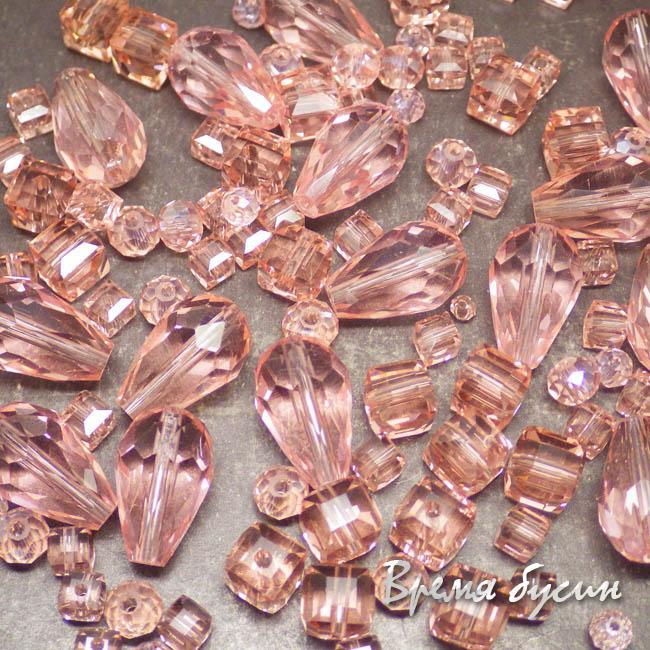 Микс бусин из граненого стекла (10 гр.) РОЗОВЫЙ