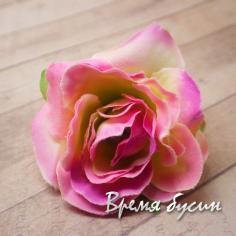 """Цветок из ткани """"Роза"""", 45 мм., цв.РОЗОВО-ЛИМОННЫЙ (1 шт.)"""
