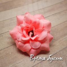 "Цветок из ткани ""Роза"", 40 мм., цв.ПЕРСИКОВЫЙ (1 шт.)"