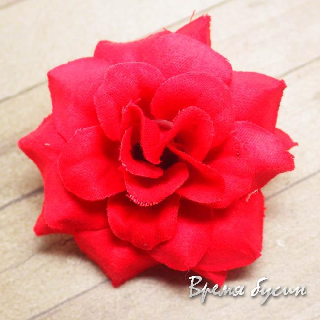 """Цветок из ткани """"Роза"""", 40 мм., цв.КРАСНЫЙ (1 шт.)"""