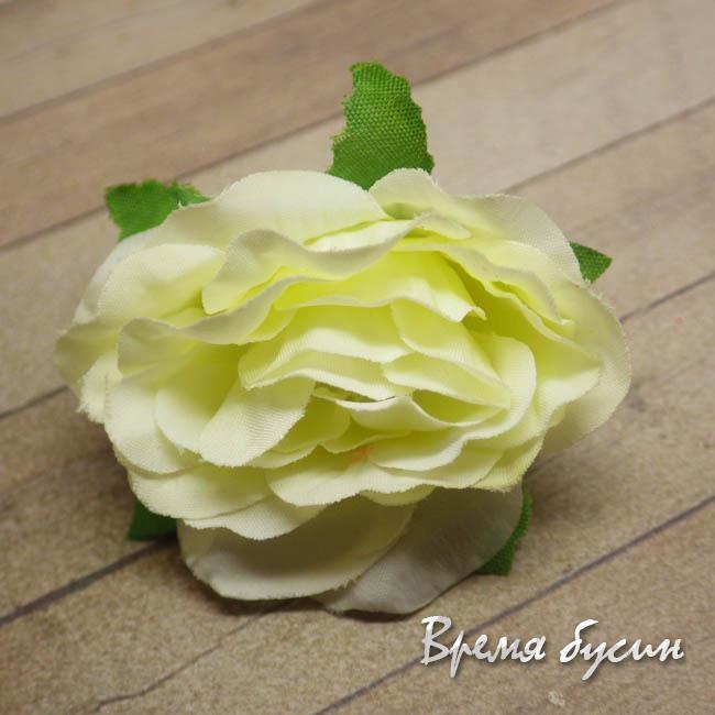 """Цветок из ткани """"Роза"""", 45 мм., цв.ЛИМОННЫЙ (1 шт.)"""