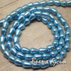 Бусина капля из стекла под жемчуг, голубой 4х6 мм (1 шт.)