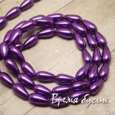 Бусина капля из стекла под жемчуг, фиолетовый 4х9 мм (1 шт.)