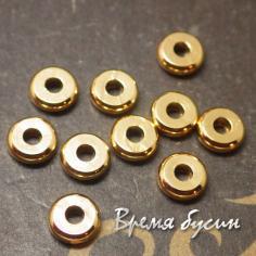 Разделители для бусин 1х4 мм, латунь с позолотой (1 шт.)