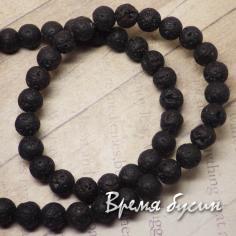 Лава черная, шарик 8 мм (нить, 48 шт.)