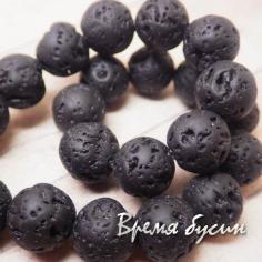 Лава черная, шарик 12 мм (нить, 32 шт.)