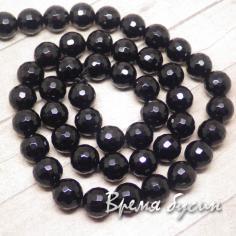 Агат черный, граненый шарик 8 мм (48 шт.)