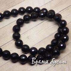 Агат черный, граненый шарик 10 мм (38 шт.)