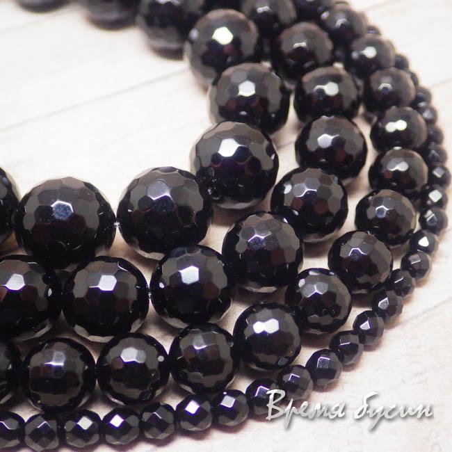 Агат черный, граненый шарик 4-6-8-10-12 мм (1 шт.)