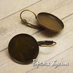 Основа для серег с сеттингом. Цвет бронза 20 мм (1 пара)