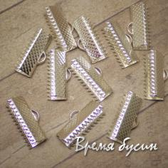 Зажим для ленты, 16х8 мм, цвет серебро (1 шт.)