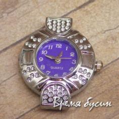Основа для часов, цвет серебро, циферблат арабский, фиолетовый