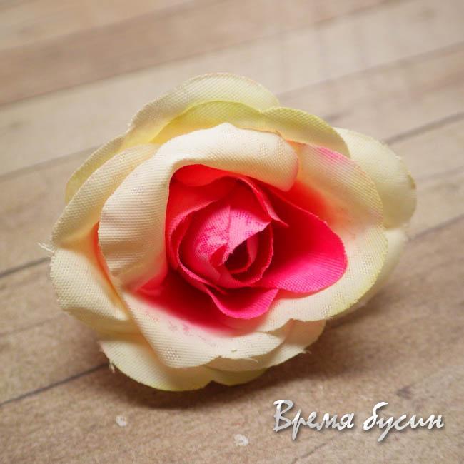 "Цветок из ткани ""Роза"", 45 мм., цв.МАЛИНОВО-ЖЕЛТЫЙ (1 шт.)"