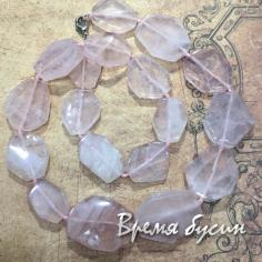 Розовый кварц, плоские крупные бусины (20 шт.)