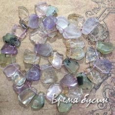 Плоские крупные бусины из разных камней (40 шт.)