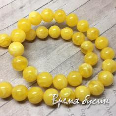 Янтарь имитация желтый, шарик гладкий 10 мм (1 шт.)