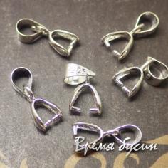 Бейл - зажим для кулона с покрытием серебром 925, 3х14 мм (1 шт.)