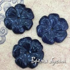 "Авантюрин синий. Бусина из камня ""Цветок"", 28 мм (1 шт.)"