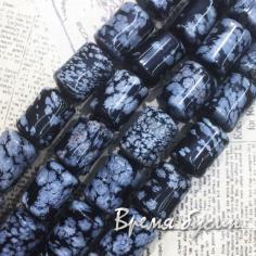 Снежный обсидиан, трубочка гладкая 10х14 мм (14 шт.)