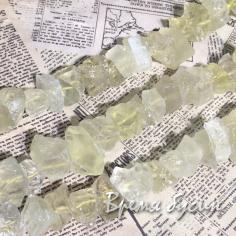 Лимонный кварц. Бусины - кусочки необработанного камня (24 шт.)