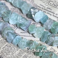 Флюорит. Бусины - кусочки необработанного камня (24 шт.)