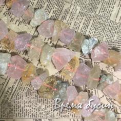 Каменный микс, бусины - кусочки необработанного камня (24 шт.)