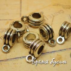 Бейл металлический, подходит для браслетов пандора, цв. СЕРЕБРО (1 шт.)