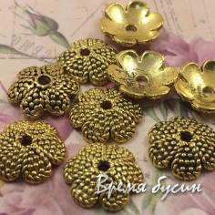 Шапочки для бусин 12 мм, цв.золото (5 гр.)