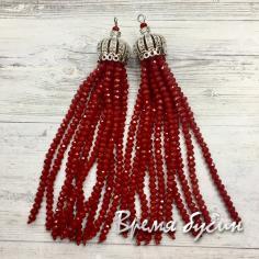 Подвески-кисточки из граненых бусин, цв. Красный (2 шт.)