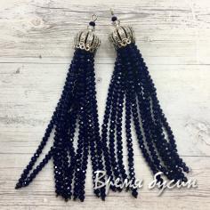 Подвески-кисточки из граненых бусин, цв. Темно-синий в серебре (2 шт.)