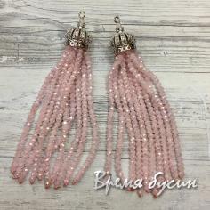 Подвески-кисточки из граненых бусин, цв. Розовый матовый в серебре (2 шт.)
