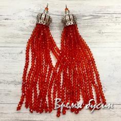 Подвески-кисточки из граненых бусин, цв. Красный в серебре (2 шт.)