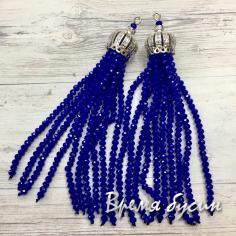 Подвески-кисточки из граненых бусин, цв. Синий матовый в серебре  (2 шт.)