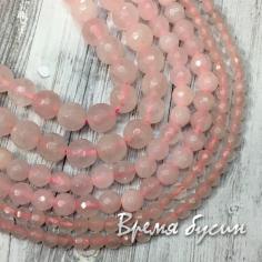 Розовый кварц, граненый шарик 6-8-10-12 мм (1 шт.)