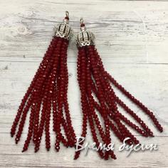 Подвески-кисточки из граненых бусин, Бордовый  (2 шт.)